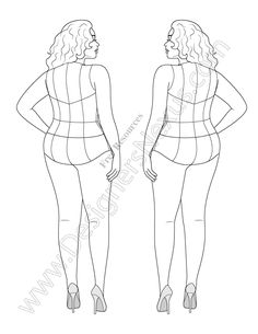 Free download of Plus Size Croqui to use as a fashion illustration template when drawing plus size apparel designs. This plus size fashion figure croqui shows a back view pose that is ideal for showing garments with novelty back details. This free fashion figure croqui comes in Adobe Illustrator format (vector croqui compatible with CS2 …