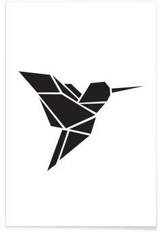 Origami Kolibri en Affiche premium par Eulenschnitt | JUNIQE