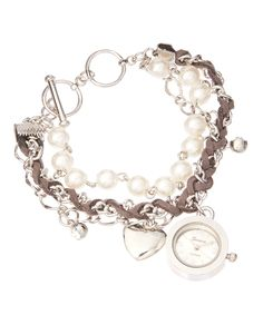 Look at this White & Gray Faux Leather Braid & Heart Charm Bracelet Watch on #zulily today!