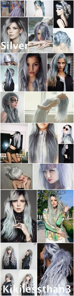 Grey hair, gray hair, silver hair, pastel hair. Ideas for dying your hair silver. Enjoy!