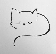 Doodle Drawings, Art Drawings Sketches, Easy Drawings, Easy Doodle Art, Cat Tattoo Designs, Rock Painting Designs, Cat Drawing, Rock Art, Cat Art