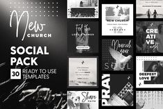 Ad: New Church - Social Pack by The Wedding Shop on Hello there! The most requested Social Pack is here, my dear friends! Whether you are a local church or a creative startup who is Tips Instagram, Feeds Instagram, Instagram Story, Insta Instagram, Instagram Posts, Social Media Template, Social Media Design, Creative Logo, Email Newsletter Template