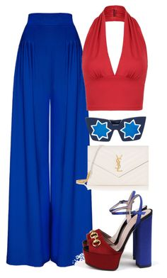 """""""Fourth Of July"""" by kimdillinger on Polyvore featuring Gucci, Yves Saint Laurent, Linda Farrow, StreetStyle, NYFW, BloggerStyle, PolyvoreMostStylish and PVStyleInsiderContest"""