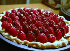Raspberry Pie Recipe for Valentine's Day - I will make David's favorite Mom's Coconut Custard Pie, and make it this way with raspberries and cocolate for Valentine's Day!