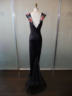 vintage black silk bias cut dress with peony embroidery via @Susan Stoffle