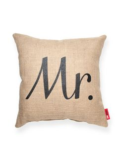 Mr Burlap Throw Pillow
