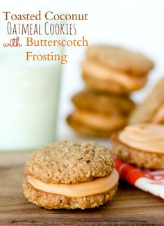 Toasted Coconut Oatmeal Cookies with Butterscotch Frosting!!