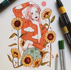 Nostalgia 🌻 sent me some Promarkers and their new Studio Collection Colour Pencils to try out – I never normally use… Sketchbook Inspiration, Art Sketchbook, Art Drawings Sketches, Cute Drawings, Drawing Art, Posca Art, Marker Art, Art Challenge, Pretty Art