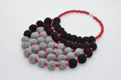 Felted Necklace Felt Ball Necklaces Textile Accessories Gray black and red felt necklace Women Accessory Wool jewelry Felted Ball Jewellery by FeltNecklace on Etsy https://www.etsy.com/listing/288377021/felted-necklace-felt-ball-necklaces