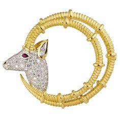 TIFFANY & CO SCHLUMBERGER Ibex Diamond Ruby Platinum Gold Brooch
