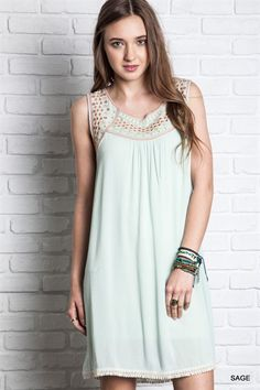 Eclectic embroidered shift dress with lovely crochet hem!