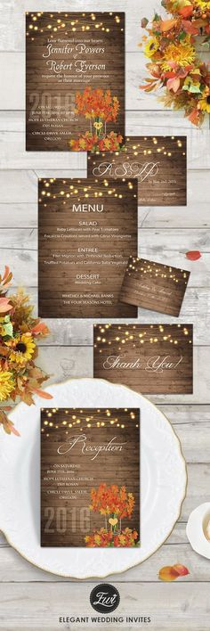 rustic fall wedding invitations with string lights for country wedding ideas