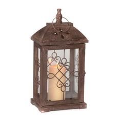 Add a romantic touch to your lighting with this Antique Brown Wood Lantern. You'll love how a lit candle transforms this lantern into an entrancing décor piece. Brown Lanterns, Metal Lanterns, Candle Lanterns, Candle Sconces, Plywood Plank Flooring, Coffee And End Tables, Buffet Lamps, Led Lantern, Home Candles