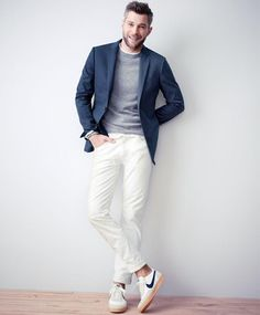 J.Crew Italian cotton piqué Ludlow double vent jacket and slim pants, cashmere crewneck sweater, 484 selvedge jeans in white and the Nike® for J.Crew Killshot 2 sneakers.