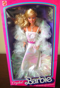 CRYSTAL BARBIE 1983. When Barbie was classy. Ummm... Totally had this Barbie. I remember this out fit @Carolyn Levine, do you? :)