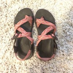 Pink Aztec Chaco's!!! Super cute and super comfy!! These are the Z-strap Chaco's. They are waterproof and have the pro sole on the bottom with the arch. Chacos Shoes Sandals