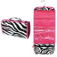 Personalized Zebra Pink hanging Toiletry by RUFroggyMonograms, $22.99