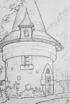 Art Drawings Sketches Simple, Pencil Art Drawings, Cool Drawings, Architecture Drawing Sketchbooks, Architecture Drawing Plan, Museum Architecture, Landscape Drawings, Simple Landscape Drawing, Landscape Sketch