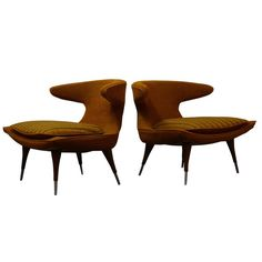 Pair of Horn Chairs by Karpen of California | From a unique collection of antique and modern lounge chairs at https://www.1stdibs.com/furniture/seating/lounge-chairs/