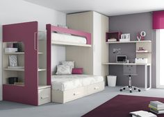 Kids Touch 67 Litera mas armario Juvenil Literas y cama tren Habitación con Litera y escritorio de Muebles Ros