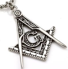 Stainless Steel Masonic Compass Square Pendant Necklace Key Chain Jewelry Tool #FV #Pendant