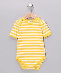 Yellow Stripe Organic Bodysuit by Canboli on zulily