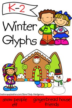 Winter Glyphs: Christmas, Gingerbread House, Snowmen, Valentines or Friends
