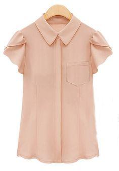 Pink Pockets Lapel Puff Short Sleeve Chiffon Blouse