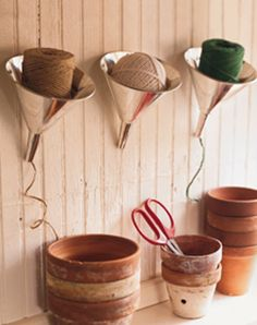 diy home sweet home: Tips, Tips, and More Tips Use old funnels to organize twine, yarn, and string. - See more at: http://diyhshp.blogspot.ca/2012/07/tips-tips-and-more-tips.html#sthash.cuhdgYBo.dpuf