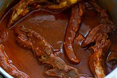 Pork Ribs Recipe (Costillas de Puerco) - Thrift and Spice Pork Riblets, Riblets Recipe, Authentic Enchilada Sauce, Slow Cooker Barbacoa, Pork Tamales, Rib Sauce, Mexican Food Recipes, Healthy Recipes, Pork Rib Recipes