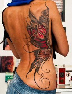 *Thinking tree instead of butterfly on rib and back intertwined with current back tatt???   Butterfly  Tattoo / Ribcage Tattoo / 3D Tattoo / Tattoos for Women