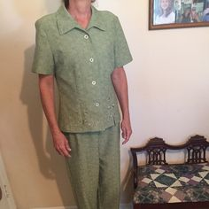 Two piece pant suit, and lime green Limegreen two piece pant suit. Top has embroidered flowers. Button-down front and collar. No tag. But is a size 10. Sag Harbor Other