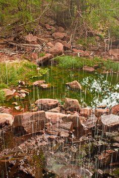 Behind a waterfall, Emerald Pools trail, Zion National Park, Utah.  Photo: pantshole via Flickr