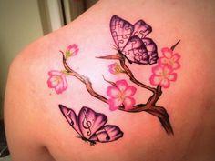 First Tattoo Ideas Cherry Blossom Branch Butterflies