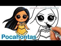 How to Draw Disney Princess Pocahontas Cute step by step Cute Disney Drawings, Disney Princess Drawings, Kawaii Drawings, Cartoon Drawings, Easy Drawings, Drawing Disney, Pocahontas Drawing, Princess Pocahontas, Disney Pocahontas