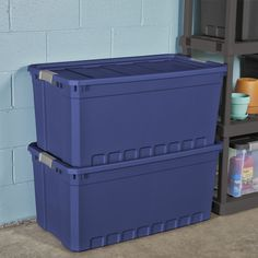 3pk Plastic Storage Containers Large Blue 50 Gallon Stacking Bin Box Tote W Lid  - Storage Containers - Ideas of Storage Containers #storage #containers Storage Containers With Drawers, Large Plastic Storage Bins, Decorative Storage Bins, Storage Container Homes, Lid Storage, Plastic Container Storage, Plastic Bins, Tote Storage, Stacking Bins