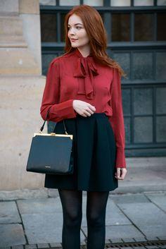 Red blouse black A line skirt Mansur Gavriel Elegant bag
