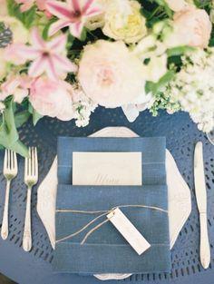 Blue table: http://www.stylemepretty.com/2014/10/22/spring-garden-wedding-full-of-romance/   Photography: Heather Hawkins - http://www.heatherhawkinsphoto.com/