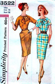 UNCUT Vintage 1960's Simplicity Pattern 3522 - Misses Tie Neckline Sheath Day or Evening Dress * Size 16..bust 36