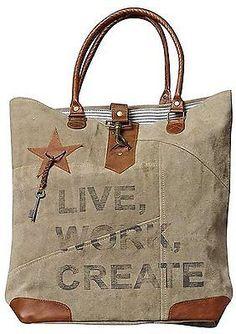 Mona B Live Work Create Canvas Tote Bag M-2072