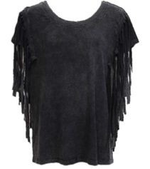 A distressed shirt with side fringe details. So comfortable you won't want to take it off! Side Fringe, Trendy Girl, Black Side, Tees, Shirts, Blouse, Clothes, Collection, Women