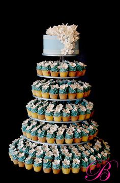 Blue butterfly wedding cupcake tower