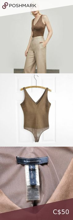 BCBG MAXAZRIA Mya Suede Bodysuit Mocha Size: small Fits true to size Excellent condition BCBGMaxAzria Tops Tank Tops Sequin Tank Tops, Black Tank Tops, Diamond T Shirt, Hooded Winter Coat, Flowy Tops, Plus Fashion, Fashion Tips, Fashion Trends