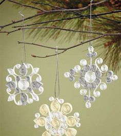 Quilling :) snowflake ornaments #papercraft