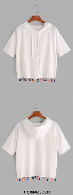 White Tassel Trim Hooded T-shirt