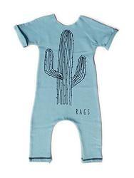 'Cactus' Romper--Light Blue