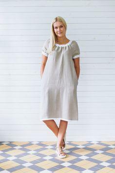 Linen dress, Gray linen tunic, Short sleeve linen summer dress with pockets, Flax summer dress, Gray linen summer dress, Linen dress gray by LINENSY on Etsy https://www.etsy.com/listing/280356510/linen-dress-gray-linen-tunic-short