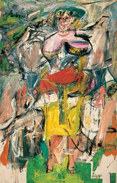 """""""Woman on a Bicycle"""" – W. DeKooning ................#GT  Note:  Woman and Bicycle depicts a standing woman, whose body is visible among the brushstrokes, slashes, scrapes, and smears of paint. She has elements of the stylish women that de Kooning would have seen on billboards and in magazines in the early 1950s. She is wearing a tight, low-cut outfit and high heels, fashionable at that time, but not very practical for bike riding."""