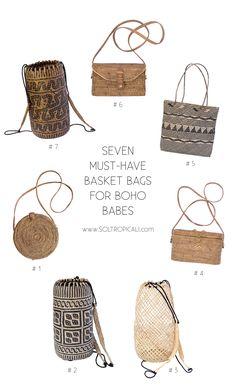 The Seven Must-Have Basket Bags for Boho Babes  Basket bag, woven bag, rattan bags, borneo backpacks, summer bags 2017, boho handbags, boho fashion, straw bag, beach bag