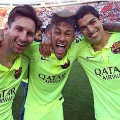Messi Suarez Neymar after la liga win may 17 God Of Football, Football Soccer, Soccer Kits, Messi And Neymar, Lionel Messi, Camp Nou, Fc Barcelona, Barcelona Football, Dani Alves